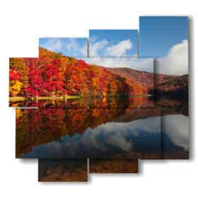 cuadros hojas de otoño que refleja en el lago