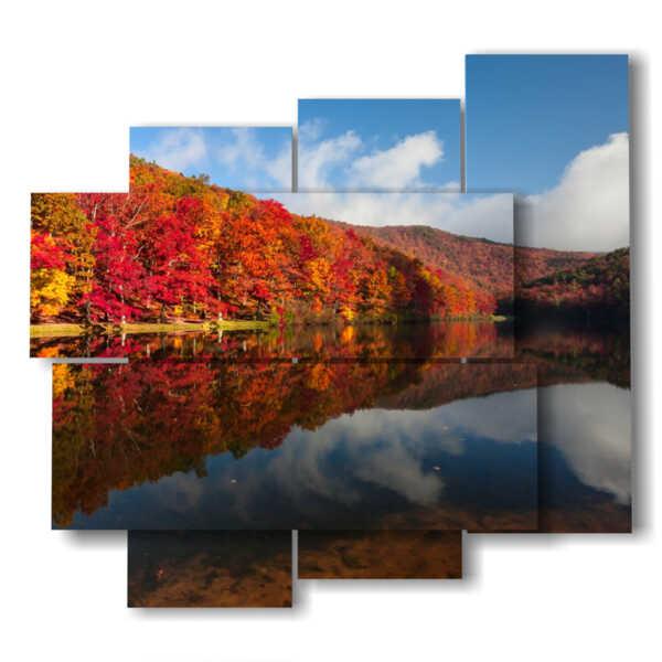 quadri paesaggi autunnali riflessi nel lago