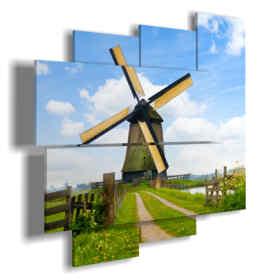 tableaux de paysages ruraux avec moulin