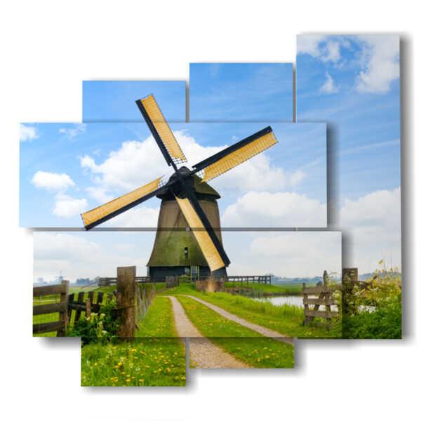 quadri paesaggi di campagna con mulino