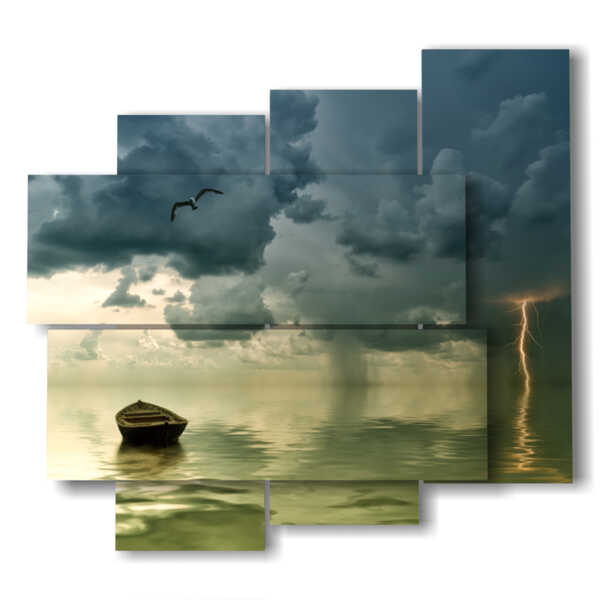 painting with lightning storm in the sea