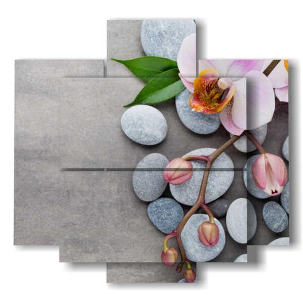 fiori quadri con sassi e orchidea