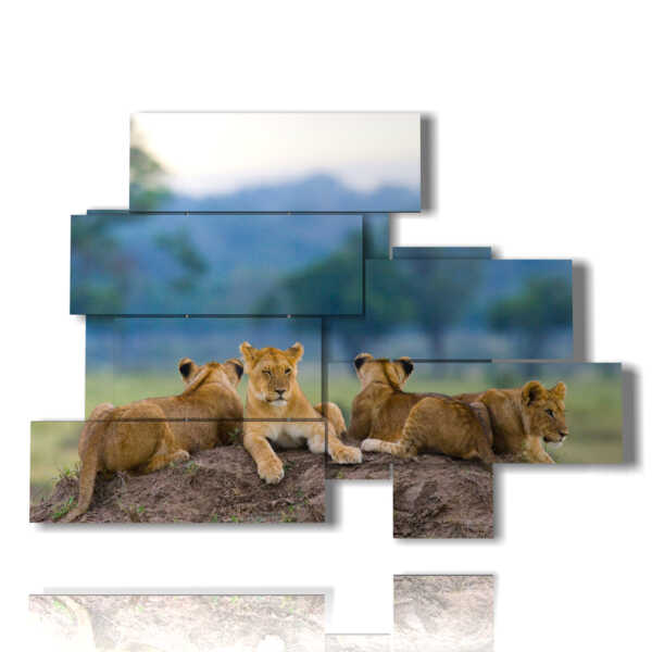 paintings of lions cubs in their den