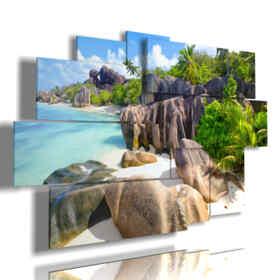 tableaux marines Anse Source d'Argent plage, La Digue Island, Seyshelles