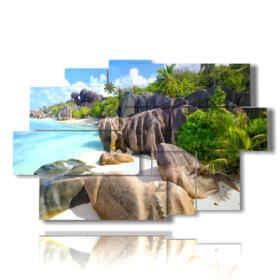 Modern paintings seaside landscapes Anse Source D'argent Beach, La Digue Island, Seyshelles