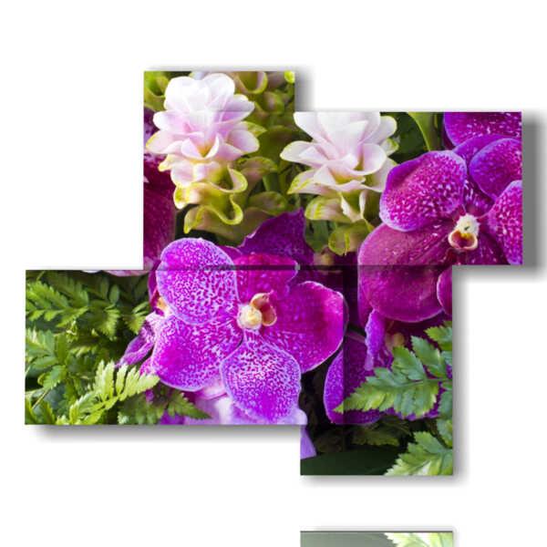 cuadros abstractas con flores de color púrpura