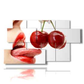 modern paintings of women and cherries
