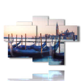 Modern paintings Venice Italy gondolas waiting