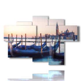 Tableaux modernes gondoles Venise Italie en attente