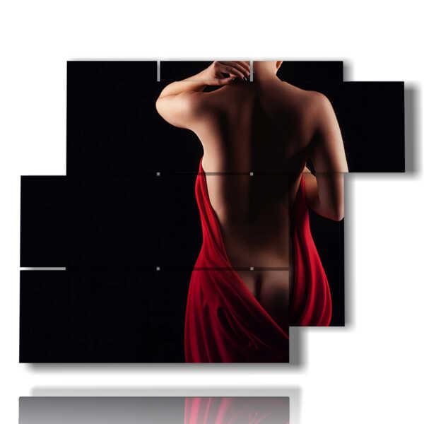 quadri nudi di donna seta rossa