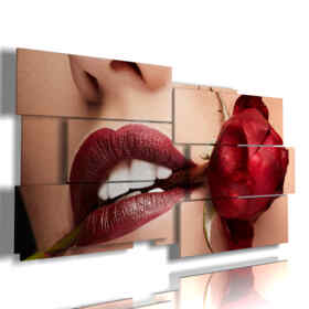 paintings with photos of red rose sensual mouth