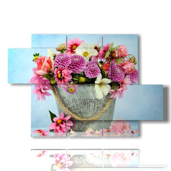 quadri con i fiori in vaso tipologia 160503 - 05 pannelli - 128x85cm