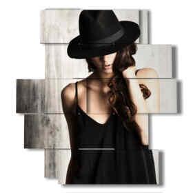 cuadros modernos mujeres con sombrero