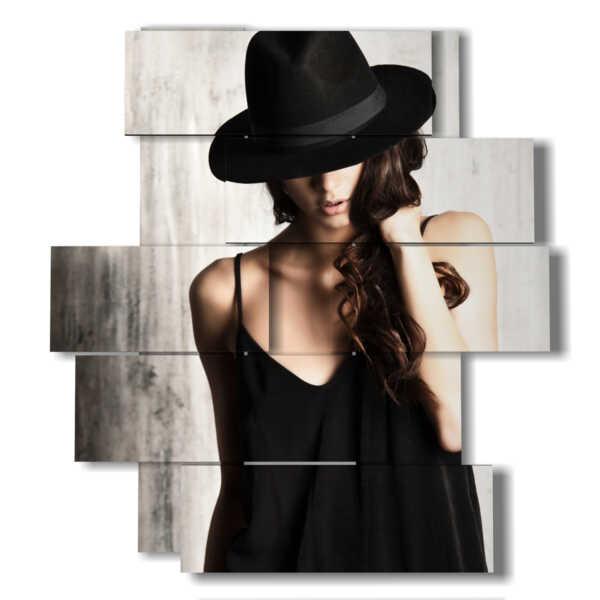 quadri donne moderni con cappello