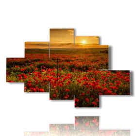 campo di papaveri quadro al tramonto