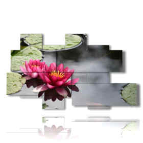 quadro fiori moderno ninfee viola