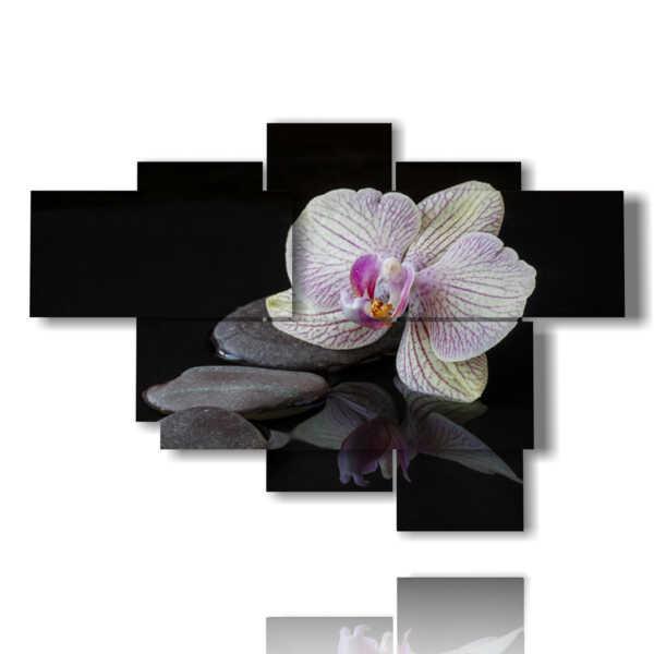 quadri moderni orchidee e sassi su sfondo nero