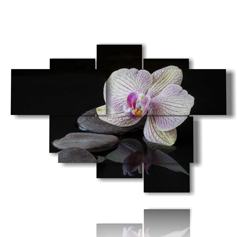 Quadri Moderni Orchidee E Sassi Su Sfondo Nero 3d Duudaart