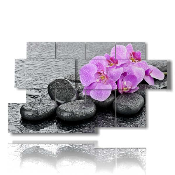 quadretti con fiori di orchidee viola adagiate nei sassi
