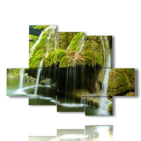 Modern picture ramified waterfalls in the mountain