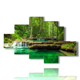 Modern picture with waterfall in emerald-coloured movement