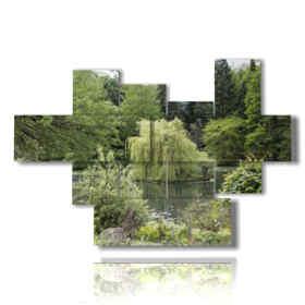 quadri alberi che circondano il lago