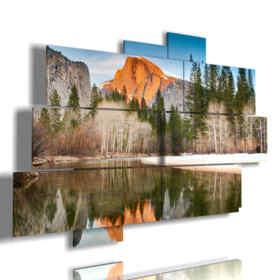 quadri di montagna specchiato nel lago