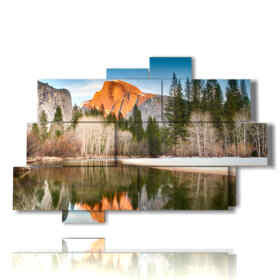 paintings of mountains mirrored in the lake