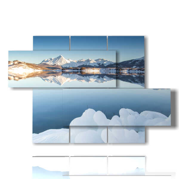 quadri neve nel lago di montagna