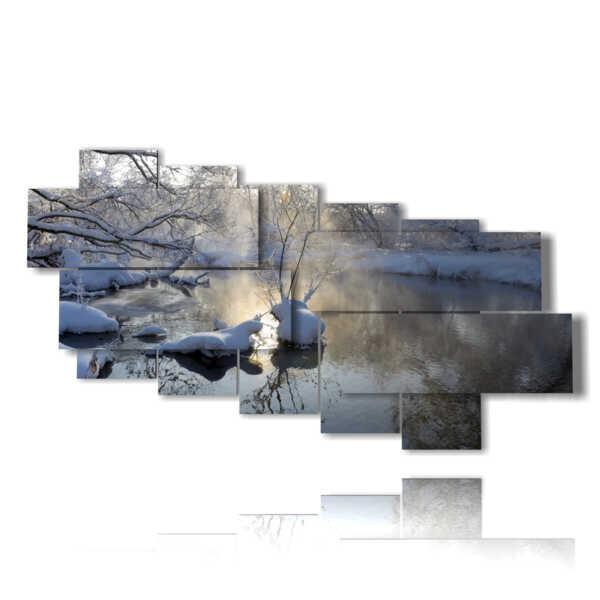 quadri paesaggi invernali nella prima luce del sole