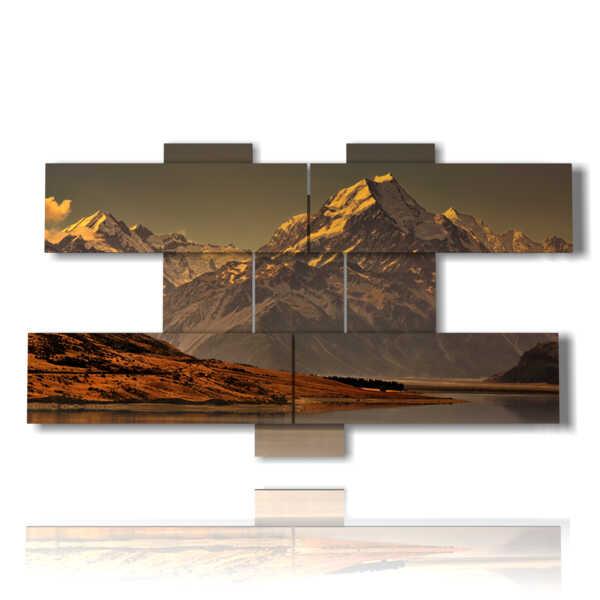 quadri paesaggi di montagna Monte Cook - Nuova Zelanda