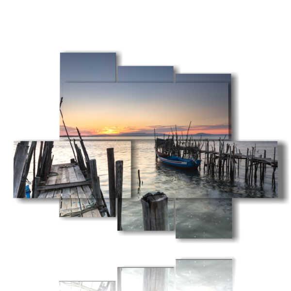 cuadros puesta de sol sobre el mar desde el muelle viejo
