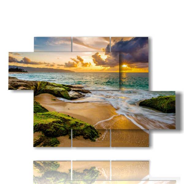 cuadros famosas puestas de sol sobre el mar y la playa