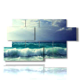 paintings with sea and waves at the beach in the Seychelles