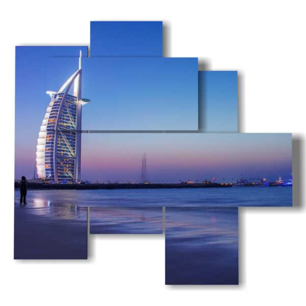 cuadro de Dubai con Burj Al Arab se ve desde el mar