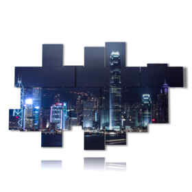 quadro con foto hong kong di notte