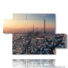 modern painting Paris: panorama at sunset 01