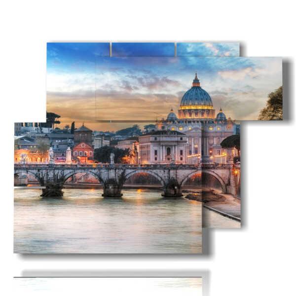 Un Moderno Foro Di Roma.Quadro Moderno Roma E Castel Sant Angelo Tipologia 160602 06 Pannelli 122x96cm