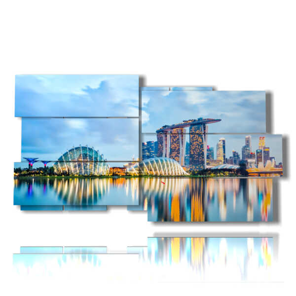 Photos of Singapore in the painting reflected on the sea