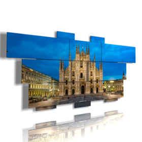 quadri con duomo di Milano di notte