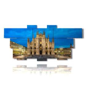 cuadros con la catedral de Milán en la noche
