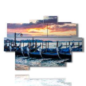 quadro moderno Venezia gondole al tramonto