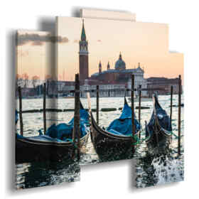 modern paintings of Venice gondolas and bell tower of San Marco