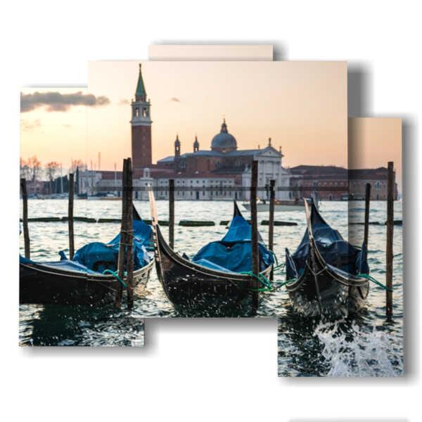 moderne Bilder von Venedig Gondeln und Glockenturm von San Marco
