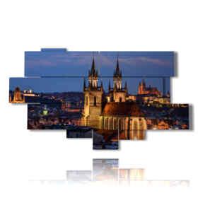 quadro con foto città di notte - Praga