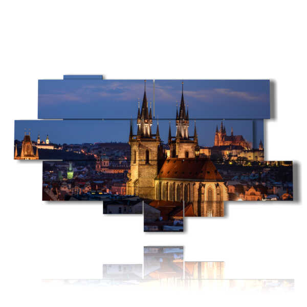 picture with photo city at night - Prague