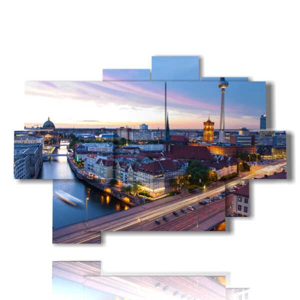 Berlin tableaux panoramiques dans la soirée