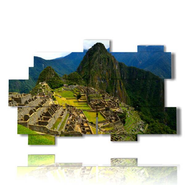 modern landscape painting Machu Picchu