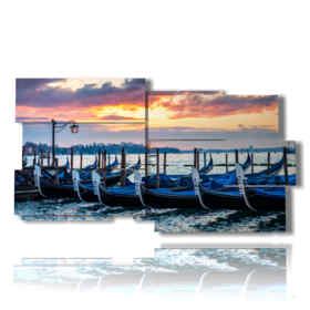 famous painting Venice and its gondolas at sunset