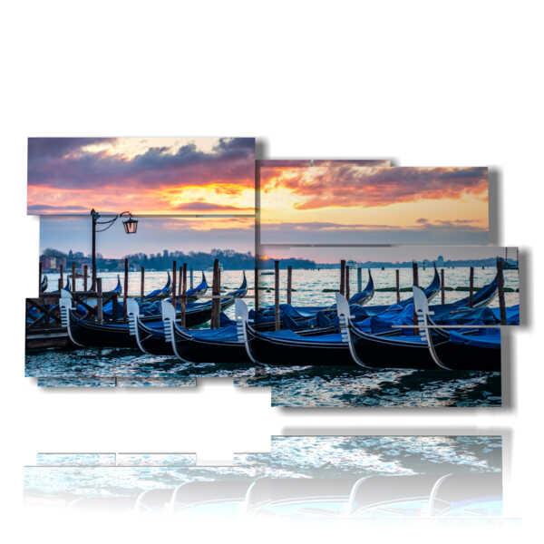 célèbre tableau Venise et ses gondoles au coucher du soleil